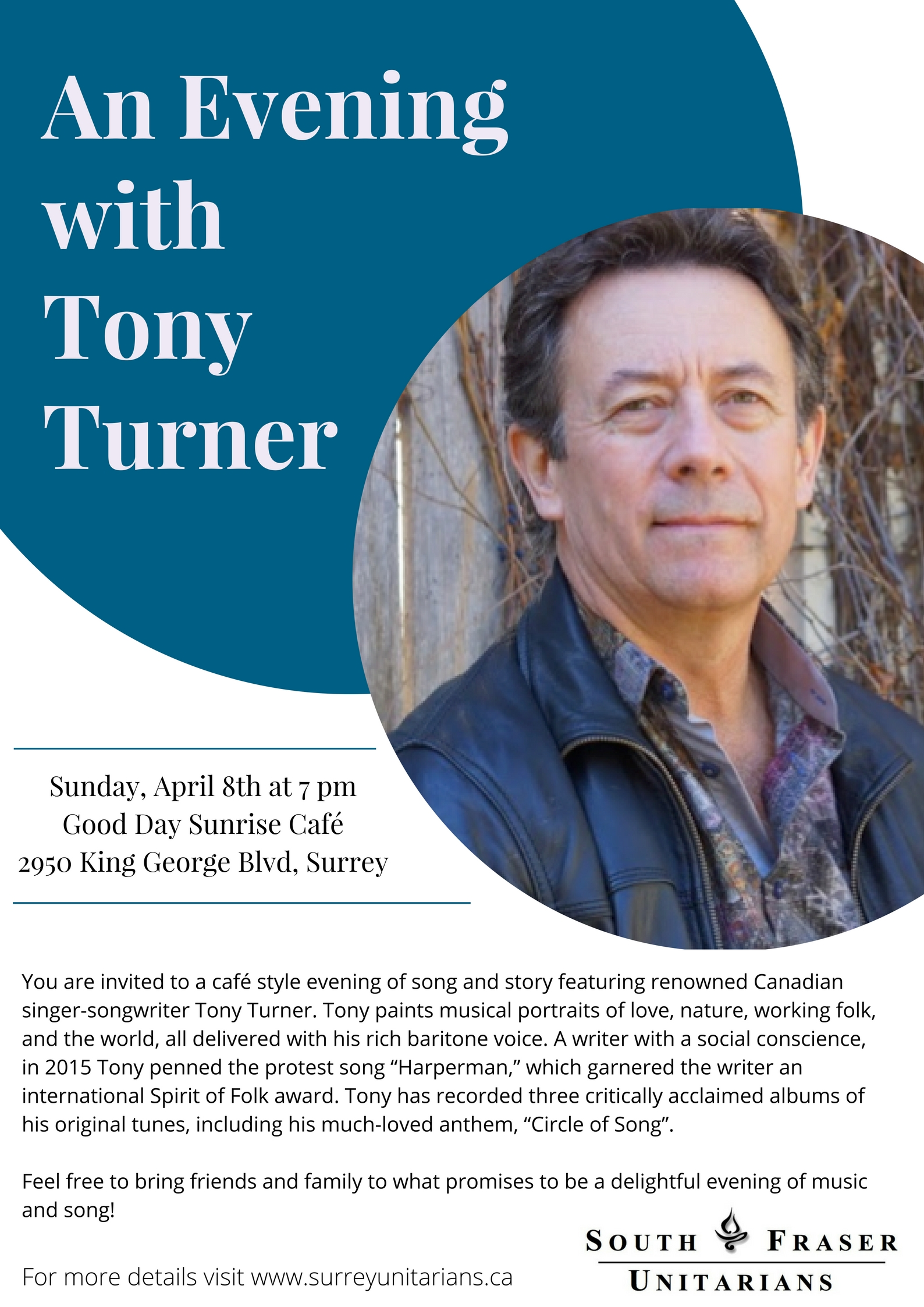 An Evening with Tony Turner @ Good Day Sunrise Cafe | Surrey | British Columbia | Canada